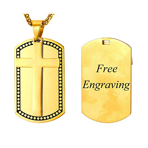 U7 Men Personalized 3mm Stainless Steel Wheat Chain 22 Inch Necklace with Big Cross Dog Tags Pendant 18K Gold Plated Engravable Cross Dog Tags