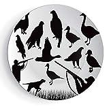 iPrint 6'' Hunting Decor Ceramic Decorative Plates Silhouettes of Wild Animals and Huntsman Grouse Mallard Duck Eagle Grass Decorative