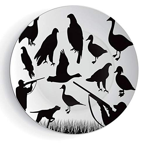iPrint 6'' Hunting Decor Ceramic Decorative Plates Silhouettes of Wild Animals and Huntsman Grouse Mallard Duck Eagle Grass Decorative by iPrint