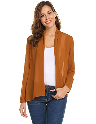 Meaneor Women's Opent Chiffon Cardigan Casual Loose Long Sleeve Sheer Cover up coffee M