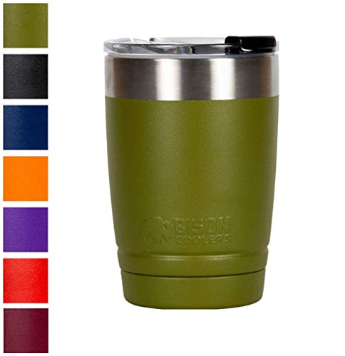 BISON COOLERS 12 oz Tumbler Double-Wall Vacuum Insulated 18/8 Stainless Steel Drink Container | Powder Coated Cup with Leak Proof Flip Top Lid | Sweat Proof Design for Hot or - Bison Top
