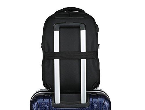 RDJM Business Casual Laptop Rucksack, Anti-Diebstahl-Computer-Tasche mit USB-Ladeanschluss, High-Capacity-Reise-Umhängetasche passt Laptop Black