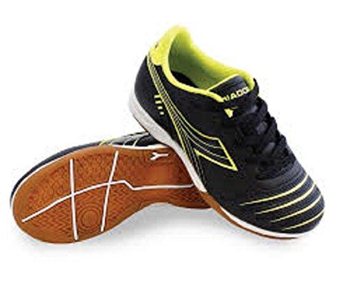 Diadora Kids Unisex Cattura ID JR Soccer (Little Kid/Big Kid) Black/Yellow Flou 4 Big Kid M (Best Futsal Shoes For Wide Feet)