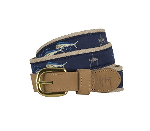 Guy Harvey Dolphin & Flying Fish Belt-Navy 30