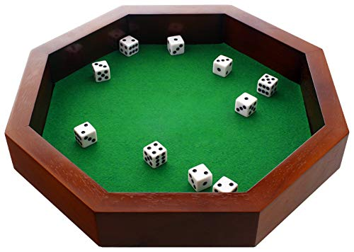 FUN+1 TOYS! 12-Inch Octagonal Wooden Dice Tray - Dice Included ()