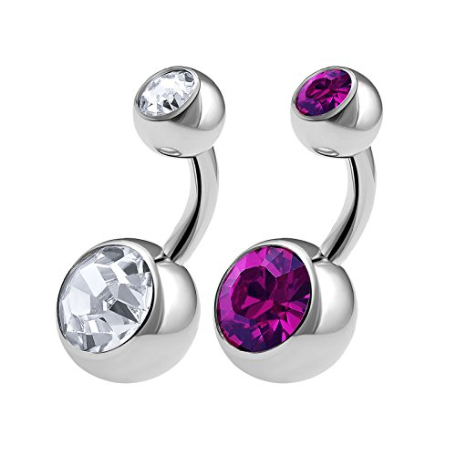 2PCS 316L Surgical Steel Short Belly Button Rings Studs 14 Gauge 1/4 6mm Amethyst Crystal Balls Navel Piercing Jewelry 0566