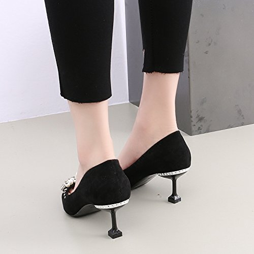 Black Black High KPHY The Women With Followed Shoes Wild 6 The Pearl Heeled Shoes The Fine Water Of Drill Mouth Shallow Tip 5Cm Single rBqWrgw8