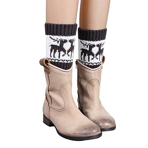 Oksale Women Christmas Elk Deer Crochet Knitted Boot Cover Cuffs Leg Warmers (Dark Gray) - Hunter And A Deer Costume