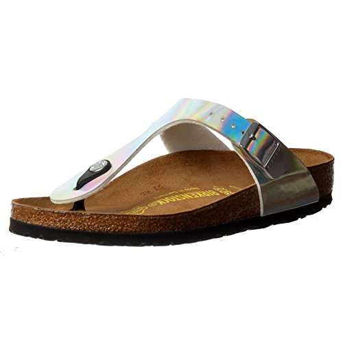 Price comparison product image Birkenstock Women's Gizeh Birko-Flor™ Sandal, Mirror Silver, EU 40 R