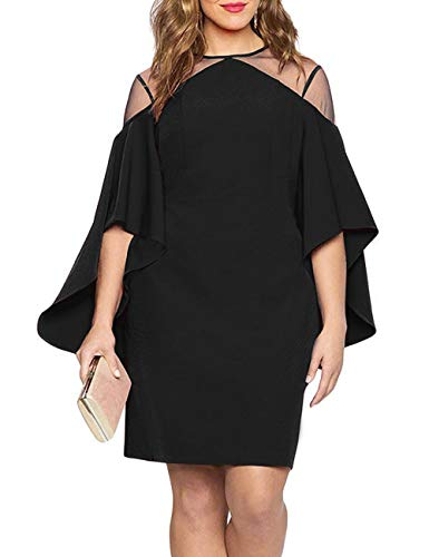 Women Mesh Cold Shoulder Bell Sleeves Mini Plus Size Fitted Dress Black XL
