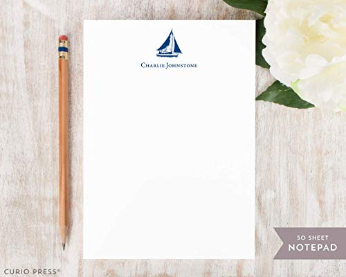SAILBOAT NOTEPAD - Personalized Nautical Stationery/Stationary 5x7 or 8x10 Note Pad