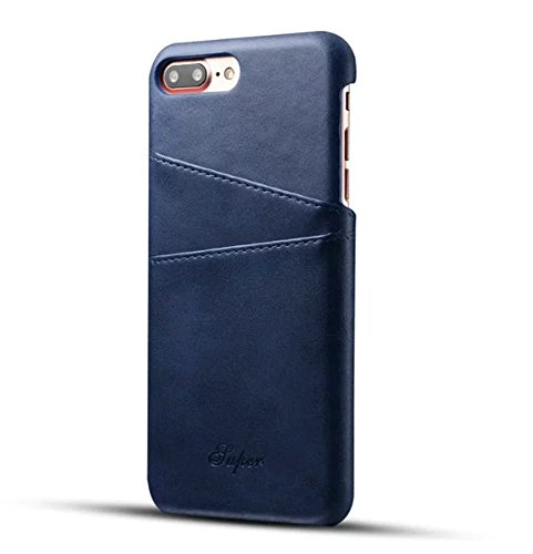 Fashioneey iPhone 7 Plus/iPhone 8 Plus Leather Card Case, Minimalist Vintage Synthetic Leather Wallet Case, Ultra Slim Professional Cover with 2 Card Holder Slots for iPhone 7 Plus/iPhone 8 Plus