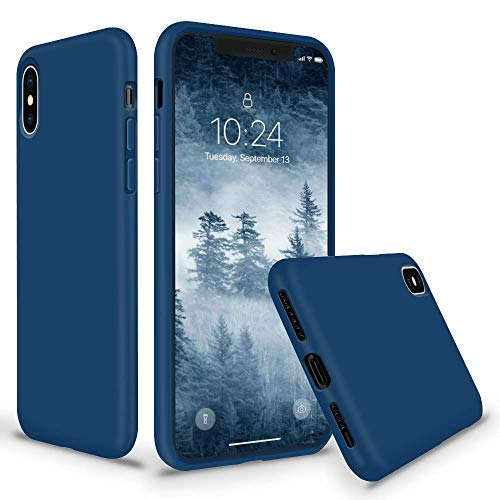 Horizon Case - SURPHY Silicone Case for iPhone X iPhone Xs Case, Thicken Liquid Silicone Shockproof Protective Case Cover (Full Body Thick Case with Microfiber Lining) Compatible with iPhone X XS 5.8, Blue Horizon