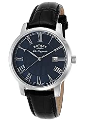 Rotary Gs90075-05 Men's Les Originales Black Leather Blue Dial Ss Watch