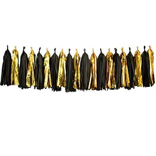 Bobee 20 Black and Gold Tissue Paper Tassel Garland Party Decorations DIY Easy Setup for Balloon Tail Wedding Event Birthday Decoration -