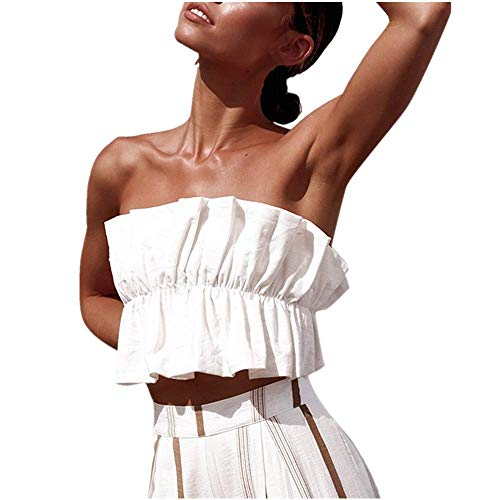 NUWFOR Fashion Womens Ladies Sexy Pleated Chest Solid Color Sleeveless Casual Top (White,L US (10-12))