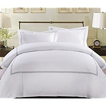 MARCOPOLO 100% Egyptian Cotton Luxury Hotel Bedding Sets Queen with Embroidered Lines
