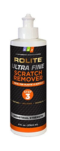 Rolite Ultra Fine Scratch Remover (8 fl. oz.) for Plastic & Acrylic Surfaces including Marine Strataglass & Eisenglass, Headlights, - Glasses Scratch Remover For