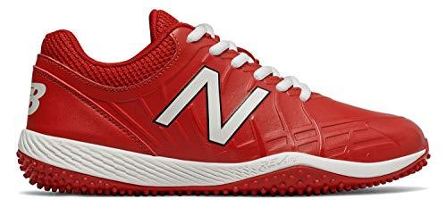 New Balance Boys' 4040v5 Turf Baseball Shoe, RED/White, 5 M US Big Kid