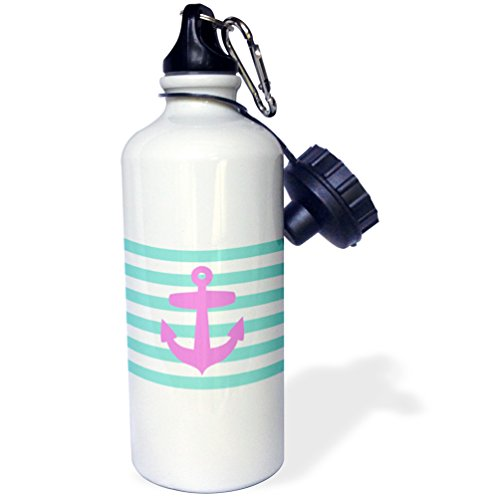 3dRose wb_57475_1 Retro Nautical Pink Anchor with Teal Turquoise Blue Sailor Stripes Pattern-French Breton Stripe Sports Water Bottle, 21 oz, White (Sailor Stripe Pattern)
