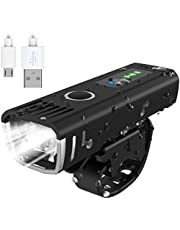 AccLoo Bike Light Front Lights USB Rechargeable Super Bright LED Waterproof Bicycle Headlight, 4 Lighting Modes Cycle Lights, Easy Mount Fits All Bicycles, Mountain Bike, Road Bike