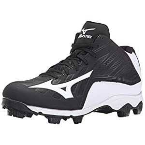 Mizuno 9 Spike ADV Yth FRHSE8 MD BK-WH Youth Molded Cleat (Little Kid/Big Kid), Black/White, 6 M US Big Kid