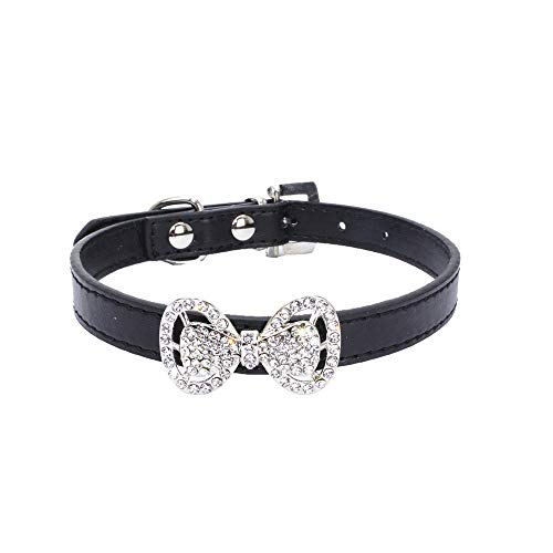 SMALLE ◕‿◕ Pet Collar for Small Dogs, Bowknot Diamond Dog Cat Puppy Collar Leather Pet Collar-Soft Leather Made-Daily Black ()