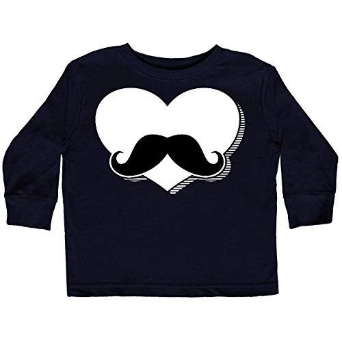 inktastic - Mustache Heart BLK Toddler Long Sleeve T-Shirt 3T Black 2e718 ()