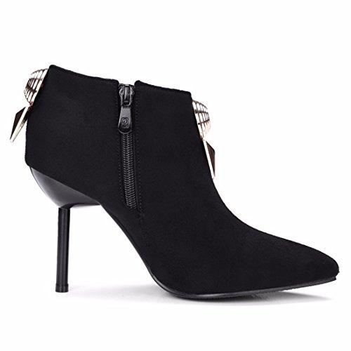 Black con fina botas Invierno e decoración heels metálica Otoño high botas Terry wxaSYvxA