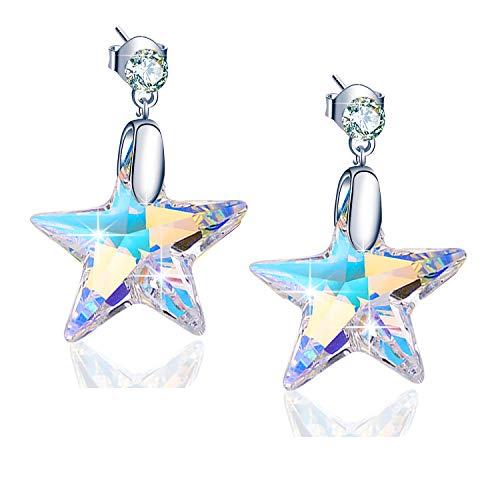 925 Sterling Silver Star Earrings for Women ()