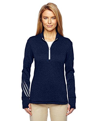A275 Adidas Ladies' Heather 3-Stripes 1/4-Zip Fleece (Stripe Zip Fleece)