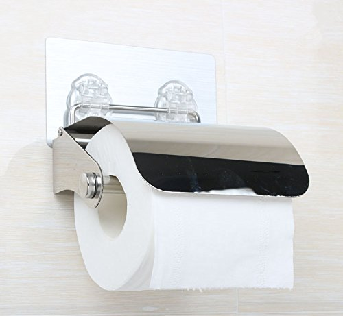EzHome Self Adhesive SUS 304 Stainless Steel Toilet Paper Reserve Holder w/ Cover Storage Bathroom Kitchen Paper Towel Dispenser Tissue Roll Hanger Wall Mount, Brushed Finish,