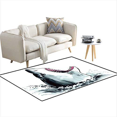 "Kids Carpet Playmat Rug Angry Shark 36""x60"""