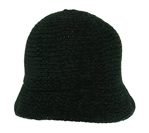 - August Hat Womens Chenille Crochet Cloche Hat Black O/S