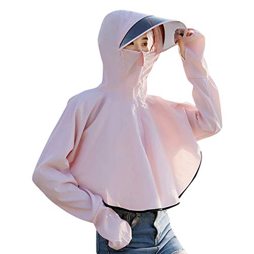 GJK-SION Women Sunscreen Hooded Coat - Breathable,Soft, Comfortable, Skin-Friendly and Stretch Resistant - Sun Protection Zipper Elegant Beach Coat Long Sleeve Sunblock Causal Cycling Jackets (Pink)