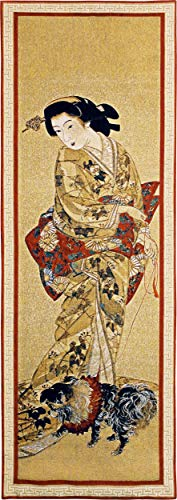 - Lady with a Dog | Woven Tapestry Wall Art Hanging | Japanese Geisha Painting Scroll Artwork | 100% Cotton USA Size 51x18