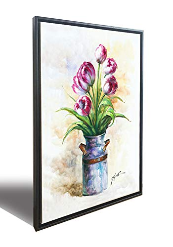 (Hongwu Wall Art Flower Canvas Prints Framed Art Tulip Floral in a Vase Pictures Stretched and Framed Ready to Hang for Home Wall Decor 20x28inch)