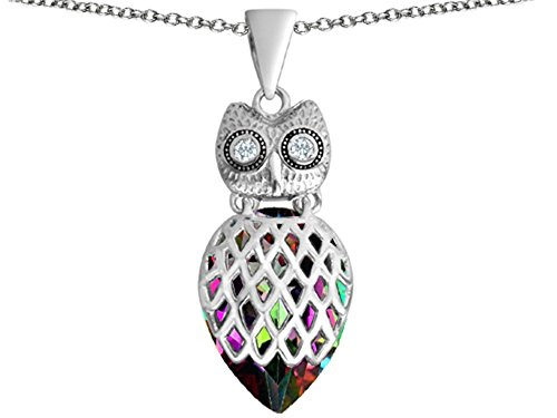 Star K Good Luck Owl Pendant Necklace with Pear Shape Rainbow Mystic Quartz Sterling Silver