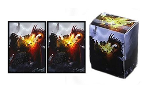 MAX PRO - DEATH GRIP - DECK BOX + 100 Matching GLOSS Finish Sleeves (fits Magic / MTG, Pokemon Cards) (Max Pro Deck Box)