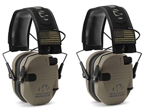 Walkers GWPRSEMPAT Razor Patriot Electronic Earmuff 23 dB Flat Dark Earth/America Patch - 2 Pack by Walker's Game Ear