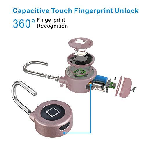 Kacul Fingerprint Padlock,Smart Metal Waterproof iOS/Android APP Smart Remote Control Keyless Luggage Lock for Bag,Door,Backpack,Bike (Rose) (rs001) by Kacul (Image #3)