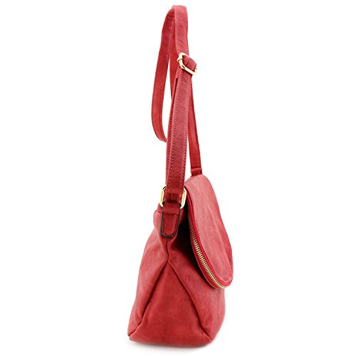 Red Flap Crossbody Top Accent with Bag Tassel YZOqTO