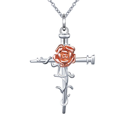 Sterling Silver Faith Hope Love 2 Nail Cross With Rose Pendant Necklace for Women 18