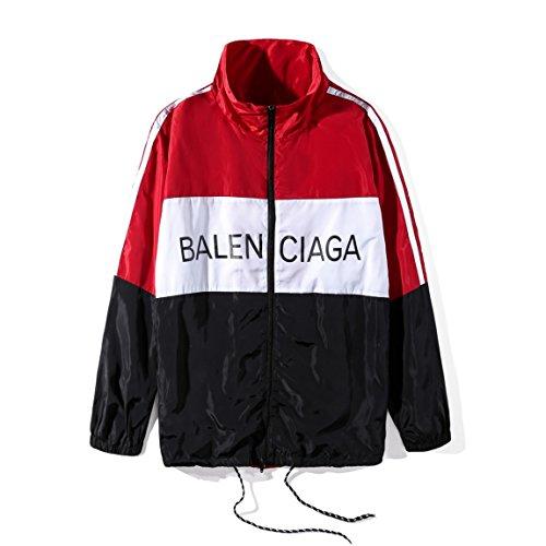 安全認識衣装バレンシアガ BALENCIAGA メンズ ウインドブレーカー ラックジャケット 長袖 切替 スポーツウェア ブルゾン (M, レッド)