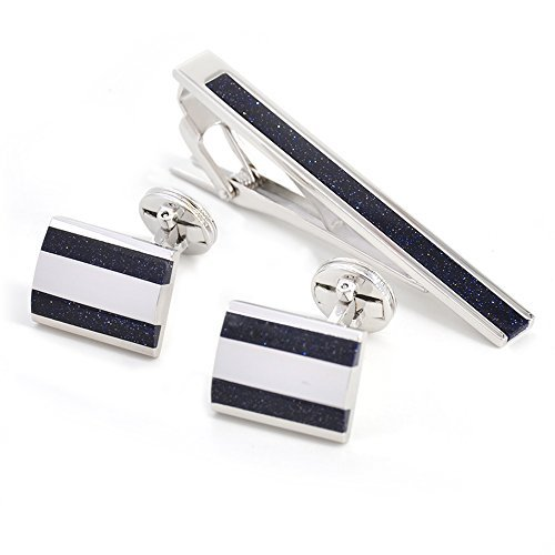 5c1e3aceb1d1 Merit Ocean Blue Sandstone Cufflinks and Tie Clips Set Neck Tie Bar Pin and Cuff  Links