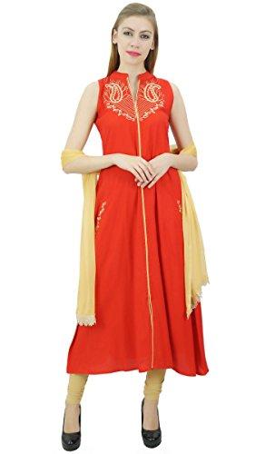 mit amp; Frauen Rayon Ethnic bestickt Indian Dupatta Atasi Beige Anzug Set Rot nvYAwOpq