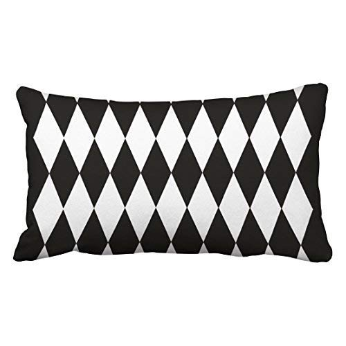 imouSde Harlequin Design Black and White Collection Rectangle Throw Pillow Decorative Lumbar Pillow Covers 12x20 for Couch Home Gifts