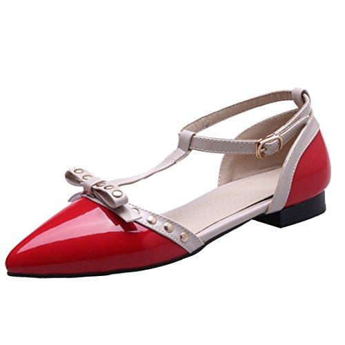 AIYOUMEI Damen Lack Spitz T-spangen Flach Sandalen mit Nieten und Schleife Bequem Schuhe Rot