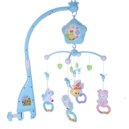 Baby Crib Mobile,Mosunx 3 in 1 Newborns Crib Toys with Music and Lights, Remote, Holder Projector, Crib Wind Chimes Decoration for 0-2 Years Old Boys Girls (Blue, 0-2 Years Old)
