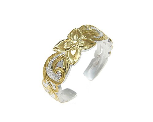 (925 sterling silver 2 tone yellow gold plated Hawaiian plumeria flower scroll 6mm cut out open toe ring)